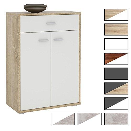 CARO-Möbel Kommode Sideboard Schrank Tommy in 10, Anrichte Highboard mit Schublade und 2 Türen