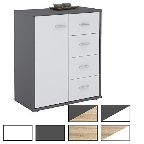 CARO-Möbel Kommode TIRANO Highboard Anrichte mit 1 Tür und 4 Schubladen in trendigen Farben