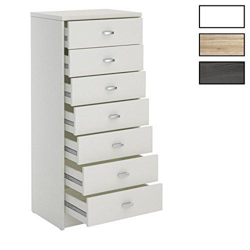 CARO-Möbel Schubladenkommode FEHMARN Hochschrank Mehrzweckschrank, schmal mit 7 Schubladen in 2 Farben