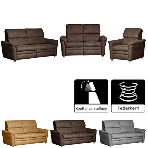 CAVADORE Sitzgruppe Chalsay / 3-Sitzer, 2-Sitzer und Sessel / mit Federkern / moderne Polstergruppe / Sofa