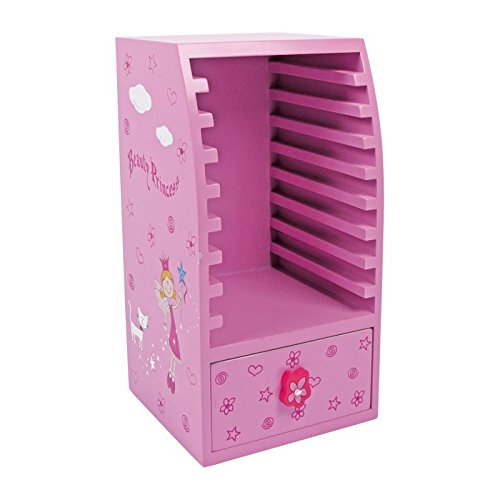 """CD Schrank """"Beauty Princess"""" aus Holz, Kindermöbel dekorativ in rosa mit Prinzessin Motiv, für 9 CDs geeignet"""