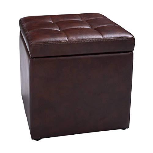 COSTWAY Sitzhocker mit Stauraum, Sitzwürfel aus PU-Leder, Sitzbox belastbar bis 300kg, Polsterhocker mit Deckel, Aufbewahrungsbox 40x40x40cm, Sitztruhe Farbwahl