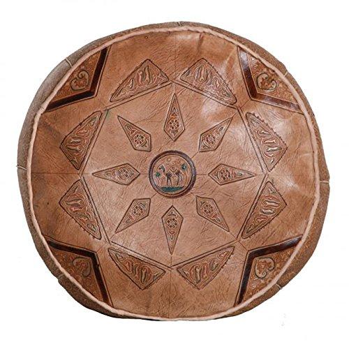 Casa Moro Orientalische Leder Sitzkissen marokkanischer Pouf Hocker Kamel01 braun | Inklusive Füllung Sitzpouf | Echt-Leder Polsterhocker aus Marrakesch | Fußhocker Sitzhocker