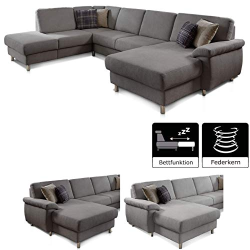Cavadore 5053 Wohnlandschaft Winstono mit Federkern und Longchair links / Sofa U-Form grau mit Bettfunktion, Relaxfunktion