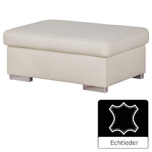 Cavadore Hocker Cattwolk / Lederhocker im modernen Design / 101 x 42 x 68 / Echtleder weiß