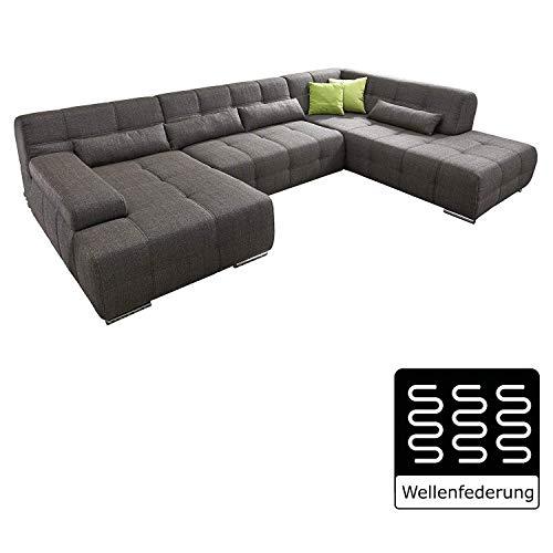 Cavadore Wohnlandschaft Boogies mit Longchair, Sofa U-Form mit Moderner Steppung in Sitz und Rückenlehne/Rückenecht/Inklusive Kissen/Größe: 344x76x231 (BxHxT)