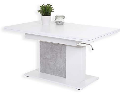 Couchtisch Funktionstisch Tisch LINUS höhenverstellbar ausziehbar Betongrau/Weiß