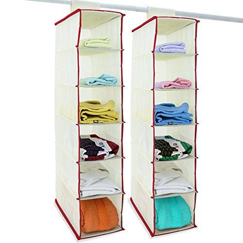 Deuba 2x Hänge-Aufbewahrung Kleiderschrank Aufbewahrung Hängeregal Organizer Aufbewahrungssystem- Farbauswahl
