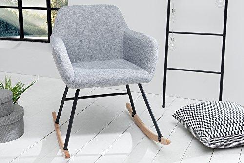 DuNord Design Schaukelstuhl Sessel Grau Schwingsessel Relaxstuhl Hellgrau Schwingstuhl JEGUM Polstersessel Polsterstuhl
