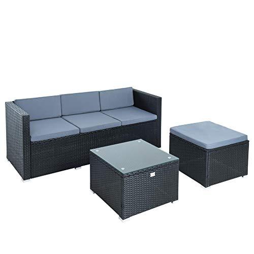 ESTEXO Rattan Lounge 3-Sitzer Sofa mit Hocker und Lounge-Tisch mit Glasplatte, schwarz