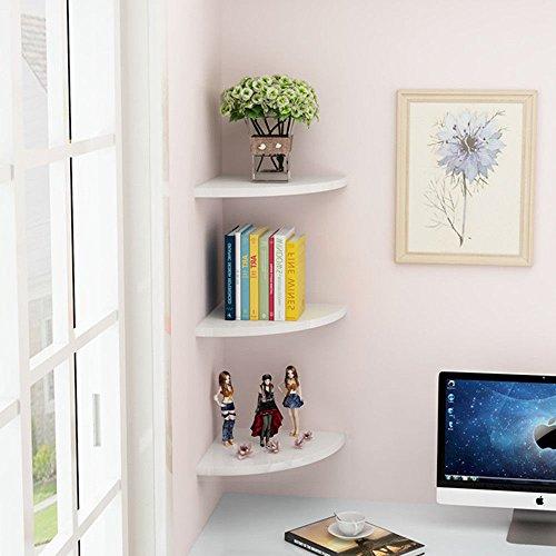 Ecke Wandregal, schwebend weiß 3Floating Eckregal Wandmontage Storage Display Rack Regale für Schlafzimmer Wohnzimmer Home Möbel Büro Decor