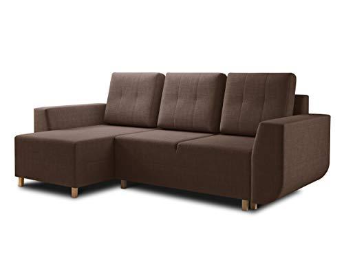 Ecksofa Lino - Scandinavian Design, Couch L-Form, Sofa mit Schlaffunktion und Bettkasten, Sofagarnitur, Couchgarnitur, Polsterecke, Holzfüße