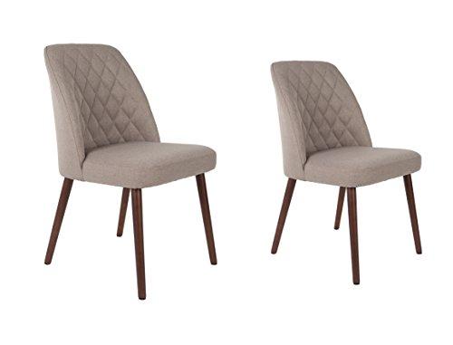 Felis Lifestyle Stuhl, Conway, 2er Set, Stoff, Beige, 56,00 x 48,00 x 85,00 cm