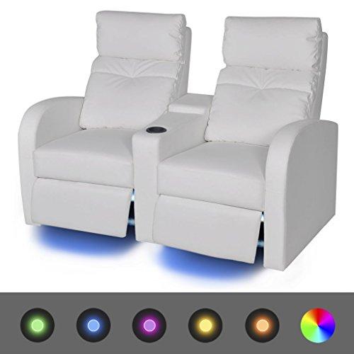 Festnight LED-Ruhesessel Relaxsofa 2-Sitzer-Sofa LED-Sofagarnitur Kunstlederpolsterung 151 x 85 x 103 cm Weiß