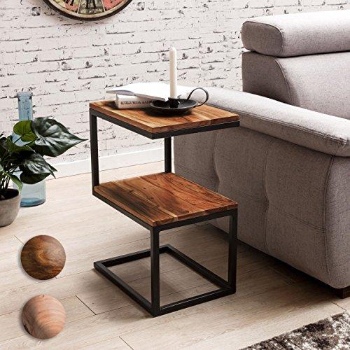 FineBuy Beistelltisch OLAKA S-Form Massivholz/Metall 45 x 60 x 30 cm | Design Wohnzimmertisch Landhaus-Stil | Anstelltisch Ablagetisch eckig