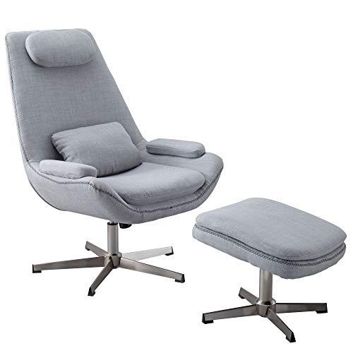 FineBuy Relaxsessel SILAN Stoff Grau 74x105,5x81cm Design Fernsehsessel | Bequemer Sessel mit Hocker | Lesesessel Drehsessel mit Fußablage | Gemütlicher Designer Wohnzimmersessel | Lesestuhl modern