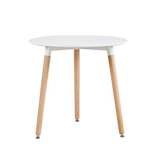 H.J WeDoo Runder Esstisch Küchentisch, Holz, 80 * 80 * 72 cm, Beine Natur, weiß …