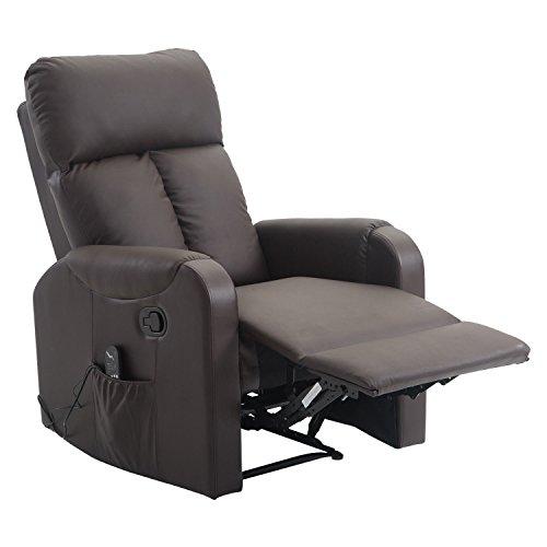 HOMCOM Massagesessel Relaxsessel Sessel mit Wärmefunktion Liegefunktion, PU+Metall, Kaffeebraun, 76,5x96x106,5cm