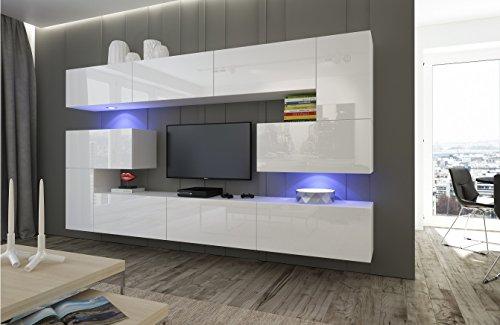 Home Direct Albania N3 Modernes Wohnzimmer Wohnwände Wohnschränke Schrankwand Weiß Hochglanz AN3-17B-HG21-1A