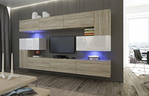 Home Direct Albania N3 Modernes Wohnzimmer Wohnwände Wohnschränke Schrankwand Weiß Hochglanz Sonoma AN3-17SB-HGM41-1A