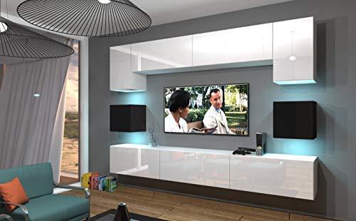Home Direct NOWARA N1 Modernes Wohnzimmer Wohnwände Wohnschränke Schrankwand Schwarz Weiß Hochglänzend AN1-17WB-HG23-1A