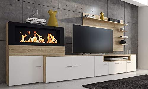 Home Innovation - Home innovation- Moderne Wohnwand, Esszimmer mit Kamin Bioethanol, Schrankwand, Wohnzimmer, Kamineinsatz, mattweißer Oberfläche und gebürsteter heller Eiche,Maße: 290 x 170 x 45