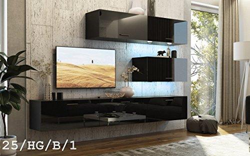 HomeDirectLTD FUTURE 25 Wohnwand Anbauwand TV-Schrank Möbel Wohnzimmer Wohnzimmerschrank Hochglanz Weiß Schwarz LED RGB Beleuchtung