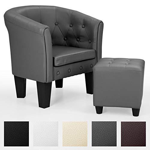 Homelux Chesterfield Sessel und Sitzhocker, aus Kunstleder und Holz, mit Rautenmuster, Farbwahl, Lounge Sessel, Clubsessel, Armsessel, Cocktailsessel, Wohnzimmer Möbel, Design-Polstermöbel, Komfort