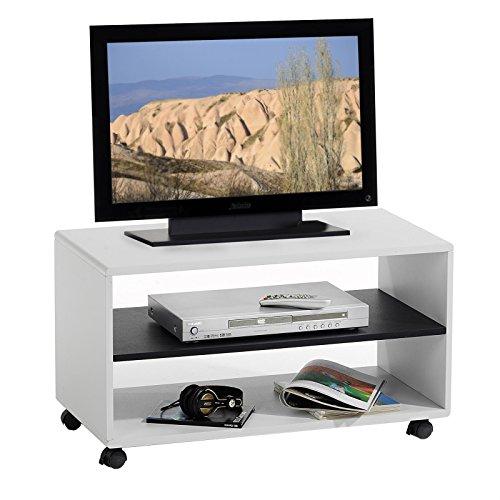 IDIMEX TV-Möbel TV-Rack Lowboard Fernsehtisch TV-Tisch TV-Element Atlanta, weiß - schwarz, mit Rollen