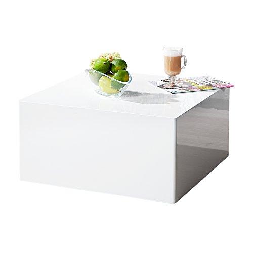 Invicta Interior Puristischer Design Couchtisch MONOBLOC L Weiß Hochglanz Quadratisch Tisch Beistelltisch