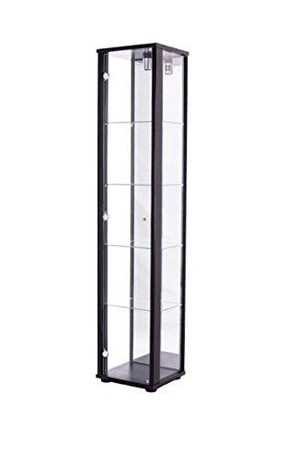 K-Möbel Standvitrine Glasvitrine Spiegel Beleuchtung Vitrine Schwarz mit Spiegel