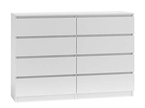 Kommode mit 8 Schubladen Malwa M8, Mehrzweckschrank, Diele, Flur, Anrichte, Sideboard, Highboard, Wohnzimmer, Esszimmer