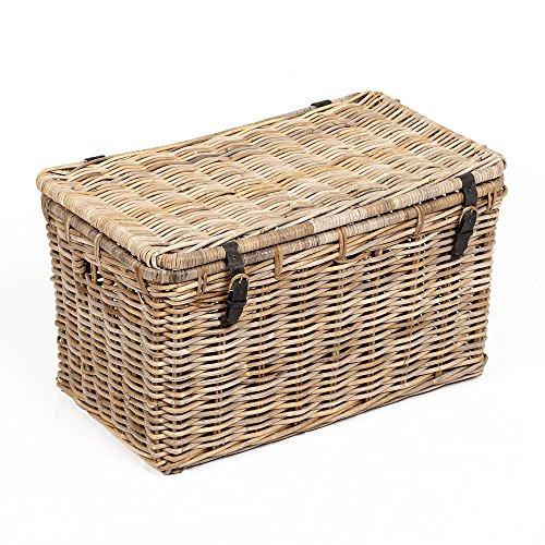 LEBENSwohnART Rattan Truhe RESSY Grey 80cm Couchtisch Wohnzimmertisch Handarbeit Kiste