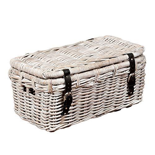 LEBENSwohnART Rattan Truhe RESSY White Wash 60cm Couchtisch Wohnzimmertisch Handarbeit Kiste