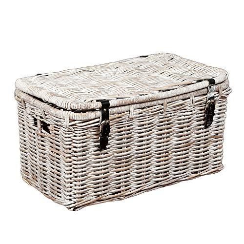 LEBENSwohnART Rattan Truhe RESSY White Wash 70cm Couchtisch Wohnzimmertisch Handarbeit Kiste