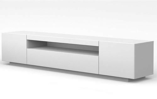 LOWBOARD 200 cm TV Schrank Solo, Unterschrank mit LED, Fernsehschrank, TV Board, Sideboard RTV, TV Schrank, HiFi-Tisch, LED Beleuchtung, Weiß Schwarz Grau Graphit Hochglanz