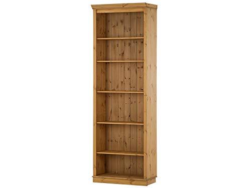 Loft24 Bücherregale, Bibliotheksregale Meteora Kiefer massiv im Landhausstil weiß lasiert, Havanna lackiert, gebeizt geölt