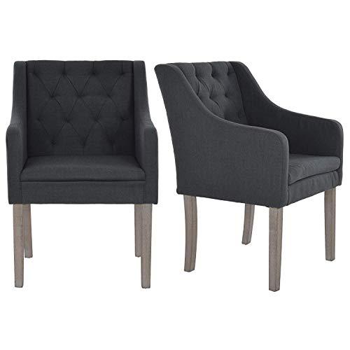 MACO Import 2er Set Loungesessel Esszimmerstühle Wohnzimmerstühle Stoff mit Armlehnen