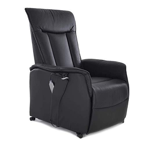 MACOShopde by MACO Möbel Fernsehsessel mit elektrischer Aufstehhilfe, Liegefunktion aus Leder mit 2 Motoren und Fernbedienung