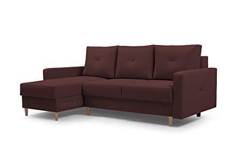 MOEBLO Ecksofa mit Schlaffunktion Eckcouch mit 2 X Bettkasten Sofa Couch L-Form Polsterecke Madison