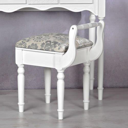 Melko Polsterhocker/Sitzhocker in weiß für Schminktisch 63 x 36 x 44 cm (H x B x T)