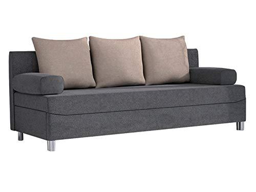 Mirjan24  Schlafsofa Dover, Sofa mit Bettkasten und Schlaffunktion, Bettsofa, Farbauswahl, Schlafcouch mit Chromfüße, Couch vom Hersteller, Couchgarnitur