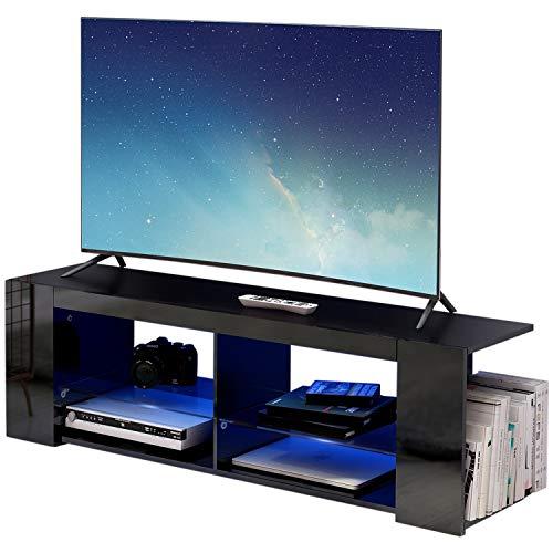 Modern Luxe ® TV Board Lowboard Fernsehschrank Fernsehtisch TV Regal schwarz Fronten in Hochglanz mit led Beleuchtung