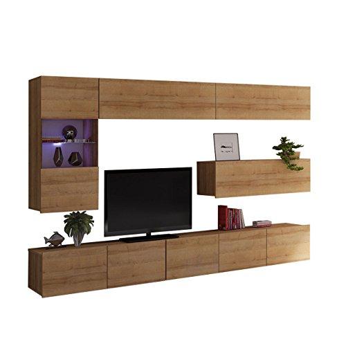 Moderne Wohnwand Calabrini IV, Anbauwand, Mediawand, TV Lowboard, Hängevitrine, Wandregal, Wohnzimmerschrank, Fernsehschrank