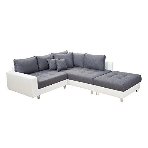 Modernes Ecksofa KENT 220cm anthrazit weiß inkl. Hocker und Kissen Ottomane Sofa Schlafsofa Schlafcouch Couch Wohnlandschaft Eckcouch