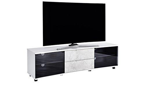 Movian TV Board mit Glastüren und zwei Schubladen für Fernseher bis 70