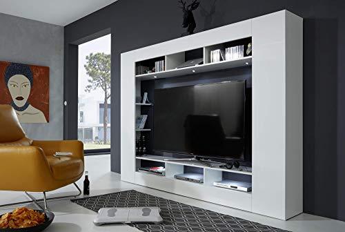 Newfurn Wohnwand Anbauwand Modern Wohnzimmerschrank Wohnlandschaft Mediawand Fernsehschrank II 216x160x 30 cm (BxHxT) II [Ohlsen.one] in Weiß Dekor/Weiß Hochglanz Wohnzimmer