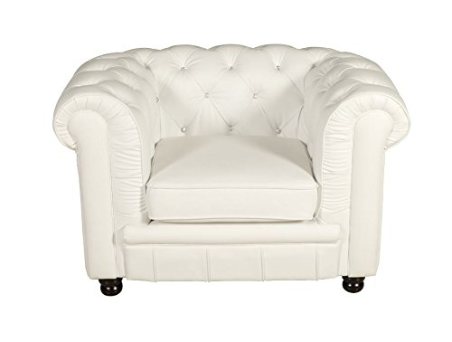 Oxford Chesterfield Sessel weiss Kristallknöpfe