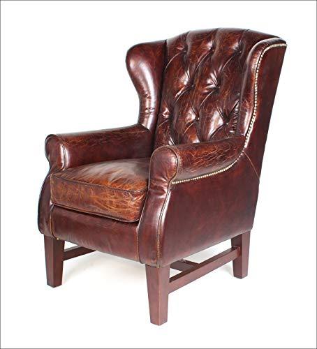 Phoenixarts Sessel Chesterfield Ledersessel Vintage Design Ohrensessel Leder Lounge ClubSessel