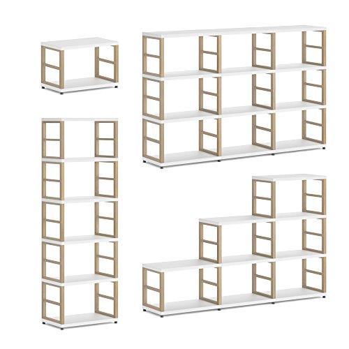 REGALRAUM MAXX Regalsystem/Bücherwand | Modular & Flexibel | Viele Größen - weiß/Eiche